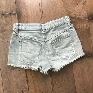 Free People Uptown Denim Shorts Jean Green Cut Off